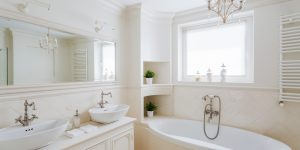 white bathroom ideas cream tones